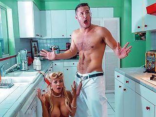Amazing, Big Tits, Blonde, Blowjob, Cheating, Deepthroat, Facial, Handjob, Husband, Kitchen,