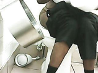 BBW, Big Tits, Black, Hidden Cam, Public, Stranger, Toilet, Voyeur,