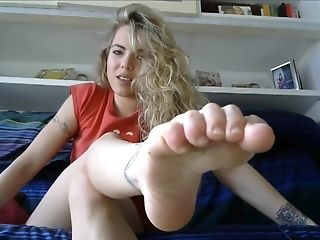 Blootsvoets, Blond, Ondeugende, Fetisj, Voet Fetisj, Aftrek Instructies, Model, Solo, Webcam,