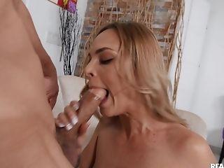 Big Cock, Blonde, Blowjob, Boobless, Couch, Cowgirl, Cum In Mouth, Cumshot, Hardcore, HD,