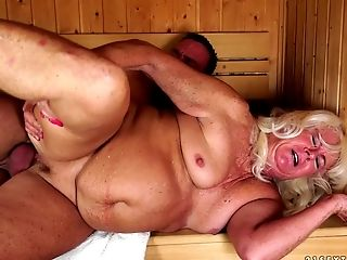 BBW, Dick, Granny, Mature, Sauna, Wet,