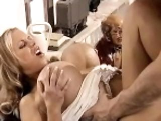 Anal Sex, Big Cock, Big Tits, Blonde, Blowjob, Close Up, Cowgirl, Cumshot, Desk, Fake Tits,