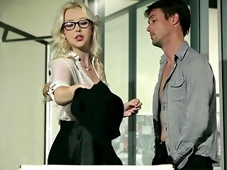 American, Babe, Blonde, Blowjob, Clothed Sex, Desk, Glasses, Hardcore, Office, Secretary,