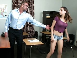 Ashley Adams, Blowjob, Brunette, Classroom, College, Teacher, Teen, White, Young,