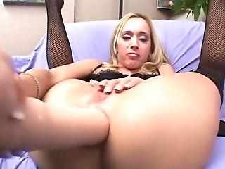 Anal Sex, Big Ass, Big Cock, Blonde, Boobless, Cum Swallowing, Cumshot, Double Penetration, Facial, Gaping Hole,